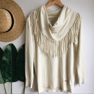 NWT Michael Kors Cream Fringe Cowlneck Sweater